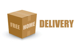 Free home delivery card board box Royalty Free Stock Image