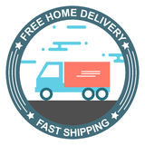 Free home delivery flat style banner design Stock Images