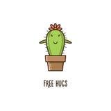 Free hugs. Cactus. Vector illustration. Stock Image