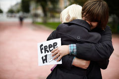 Free Hugs from Russia Royalty Free Stock Photos