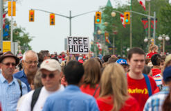 Free Hugs Sign on Canada Day Royalty Free Stock Images