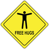 Free Hugs Yellow Traffic Sign Royalty Free Stock Photo
