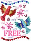 Free hummingbirds with beautiful flowers and free love Stock Images