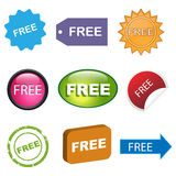 Free icons or buttons. Set of nine colorful free icons or buttons isolated on white background.EPS file available