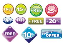 Free icons or buttons for offers. Set of eleven colorful free icons or buttons isolated on white background. Offers labels and discount stock illustration