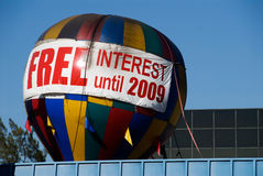 Free Interest. Large hot air balloon advertising free interest until the year 2009 Royalty Free Stock Image
