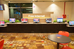 Free internet access computers at Singapore Changi Airport Royalty Free Stock Photo