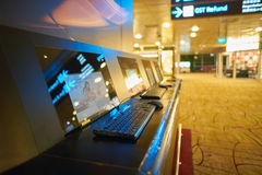 Free internet access computers at Singapore Changi Airport Stock Image