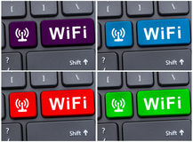 Free internet access concept. With wifi button symbol on computer keyboard Royalty Free Stock Image