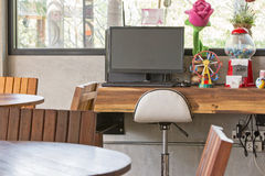 Free internet and computer in coffee shop. For guest Royalty Free Stock Photo