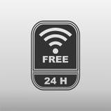 Free internet 24 hours. Logo on white background Stock Images