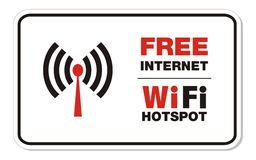 Free internet wifi hotspot rectangle sign. Suitable for public signs Stock Image