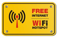 Free internet wifi hotspot yellow sign - rectangle sign Royalty Free Stock Photo