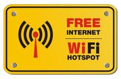 Free internet wifi hotspot yellow sign - rectangle sign stock illustration