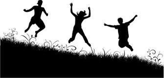 Free Jumping. Black silhouette , work Stock Photo