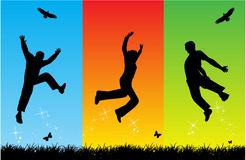 Free Jumping. Work with vectors ai + eps Stock Photography