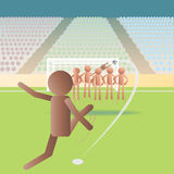 Free kick. Illustration of a soccer match in a free kick situation Stock Photography