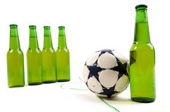 Free kick. Taken by cold bottle of beer Stock Images