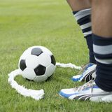 Free kick soccer game. Foam spray free kick half circle with soccer player Stock Photo