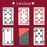 Free of a kinq playing card poker combination.  illustration eps 10. On  red background. To use for design, registration, th Stock Photography