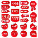 Free Labels. Collection of red stickers Royalty Free Stock Image