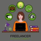 Free lance della donna sul lavoro Illustrazione di vettore del concetto infographic dell'insieme illustrazione di stock