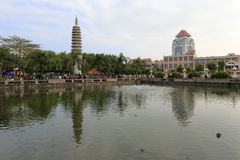 The free life pond of nanputuo temple is near the xiamen university Stock Photo