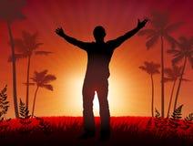 Free man on sunset background Stock Image
