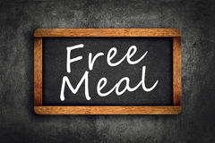 Free Meal Title on Restaurant Slate Chalkboard Royalty Free Stock Photography