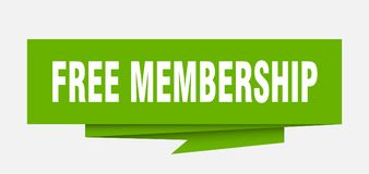 Free membership. Sign.  paper origami speech bubble.  tag.  banner royalty free illustration