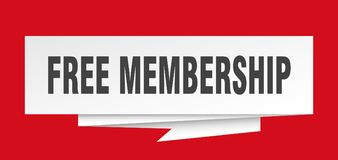 Free membership. Sign.  paper origami speech bubble.  tag.  banner stock illustration