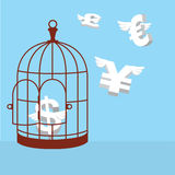 Free money currency. Open cage with flying money Stock Photography