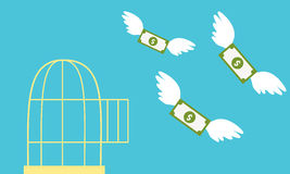 Free money. Open cage with flying money. Business concept Stock Images