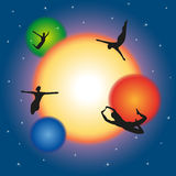 Free movement and levitating in space. Vector illustration Royalty Free Stock Images