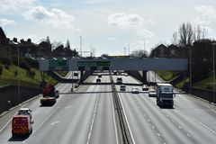 Free moving traffic on the motorway. The A102/M motorway in London that leads to the blackwall tunnel and other major motorways in London surrounds Royalty Free Stock Photography