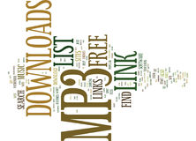 Free Mp3 Downloads Link List Text Background Word Cloud Concept stock illustration