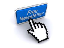 Free newsletter. 3D free newsletter hand pushing blue button illustration Royalty Free Stock Images