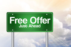 Free Offer Just Ahead Green Road Sign Stock Photo