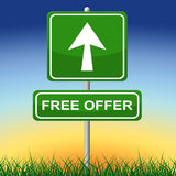 Free Offer Sign Shows With Our Compliments And Arrow Royalty Free Stock Photo
