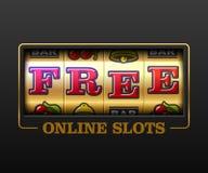 Free Online Slots casino banner. Free Online Slots, slot machine games banner, gambling casino games, slot machine illustration with text Free Online Slots royalty free illustration