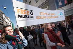 `Free Palestine` banner at protest demonstration Royalty Free Stock Photos