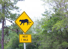 Free panthers crossing road sign Stock Photos