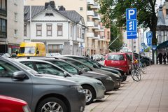 A free parking. On a city street royalty free stock image