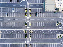 Free Parking spots aerial view from above Stock Photo