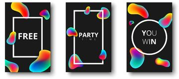 Free, party time, you win black cards. Free, party time, you win black isolated cards with colour bubbles and white frame. Vector illustration.r Royalty Free Stock Images