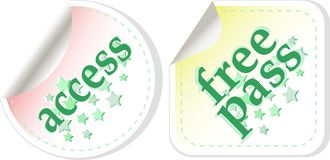 Free pass and access vector stamps set Royalty Free Stock Images