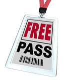 Free Pass - Lanyard and Badge Stock Images