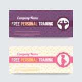 Free personal training, gift voucher design for gym, fitness club Royalty Free Stock Image