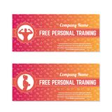 Free personal training, gift vouchers. For fitness club or gym Stock Photography