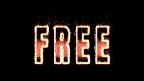 Free plasma text from fire isolated in black stock footage